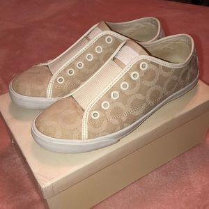 COACH Cream & Tan Slip-On Sneakers